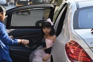 Aaradhya Bachchan stepped out with her mom or dad for the birthday party.