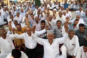 Haryana Roadways workers staging a protest to press for their demands in Rohtak on Saturday.