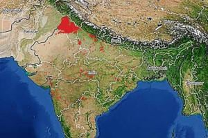The image, generated on Saturday noon by the PGI and PU team using NASA's Earth Observing System Data and Information System, shows around 2,000 spots where stubble burning is likely taking place. The number is highest in a day this season, and a majority (60-70%) of the spots lie in Punjab region.