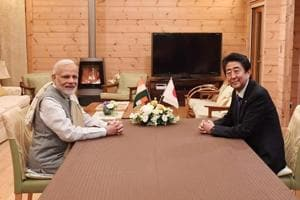 Prime Minister Narendra Modi at a dinner hosted by Japanese Prime Minister Shinzo Abe at his holiday home in Yamanashi, Japan on October 28, 2018.