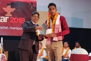 Gurpreet Sehji received the award at a function organised by Sahitya Akademi at the Tribal Research Institute at Imphal on Friday.