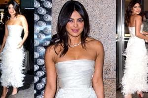 Priyanka Chopra flirted with feathers at her bridal shower. Here's how much her designer dress costs.  (Instagram)
