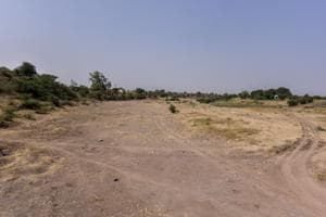 A dried-up local tributary of Godavari River, Shivna, in Aurangabad district.