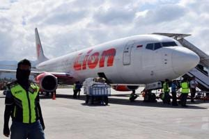 This photo taken on October 10, 2018 shows a Lion Air Boeing 737-800 aircraft at the Mutiara Sis Al Jufri airport in Palu. - An Indonesian Lion Air passenger plane went missing on October 29, 2018 shortly after taking off from the capital Jakarta, an aviation authority official said, adding that a search and rescue operation is under way.