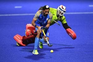 Akashdeep Singh in action during the Asian Champions Trophy in Muscat.