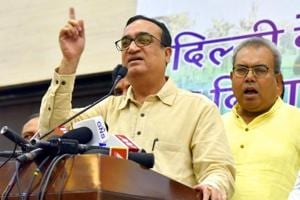 Delhi Congress chief Ajay Maken, who is unwell and went abroad last month for a health check, has conveyed to the party's leadership that it will be difficult for him to continue on medical grounds. (HT Photo)