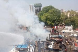 At least 70 hutments were destroyed as hundreds of slum-dwellers lost their homes.