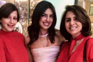 Neetu Kapoor and Sonali Bendre pose at Priyanka Chopra's bridal shower.