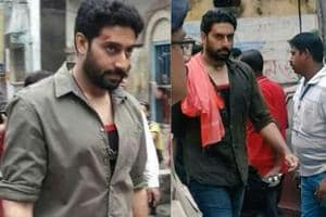 Abhishek Bachchan was spotted shooting for his next in West Bengal.