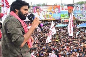 Jana Sena Party chief Pawan Kalyan addressing a gathering, in Visakhapatnam.  The YSR Congress and Jana Sena Party (JSP) are unlikely to contest assembly elections in Telangana scheduled to be held on December 7.