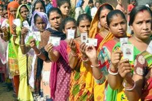 Voters waiting in long queue to cast their vote at polling station during Panchayat election at village Naushera Khurd near Amritsar on September 19