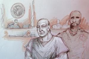 In this courtroom sketch, Cesar Sayoc, left, appears in federal court on October 29 in Miami.