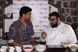 Wrestling champion Sangram Singh with Chef Osama Jalali at the HT City Culinary Fest.