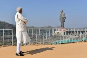 Prime Minister Narendra Modi looking at the State of Unity at the distance on October 31 in Gujarat.