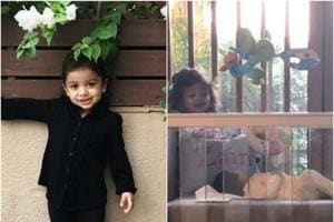 Shahid Kapoor's daughter Misha Kapoor was spotted peeping over her brother Zain's crib in this picture captured by Mira Rajput.