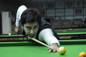 File image of India's Pankaj Advani in action during a snooker championship.