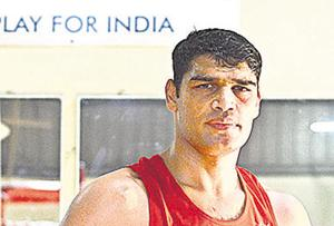 Sathish Kumar during the practice session of National level boxing championship in Pune on Tuesday.