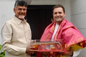 Andhra Pradesh chief minister Chandrababu Naidu with Congress president Rahul Gandhi in New Delhi on Thursday. This is Naidu's first meeting with Gandhi, though the two had shared stage earlier.