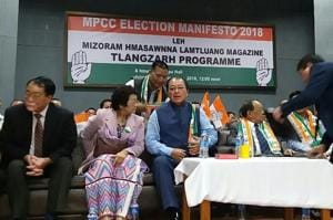 Mizoram Congress president and chief minister Lal Thanhawla (third from left) at the party's manifesto release programme, in Aizawl on Thursday.