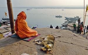 Contemplating the void: A sanyasi meditates on Vijayanagaram ghat on the Ganga in Varanasi.