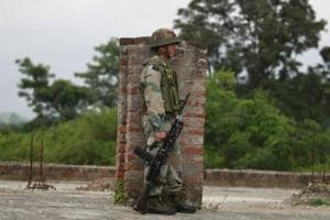 An army soldier near a security check point on the Jammu -Srinagar highway.