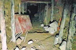 The tunnel started at Shree Balaji general store and ended at the locker room of the Bank of Baroda's Sanpada branch which is two shops and one ATM kiosk away. Robbery done by making a tunnel inside Bank of Baroda at Juinagar in Navi Mumbai, on Wednesday, November 15, 2017.