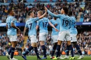 File image of Manchester City players celebrating after scoring a goal during a Premier League match.