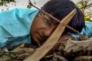 New Delhi: In this still from a video, Doordarshan camera assistant Mor Mukut records a message for his mother during a Maoist ambush that he survived, in Chhattisgarh's Dantewada district Tuesday, Oct 30, 2018. In the message Mormukt expressed his love for his mother and said he might not survive the attack. (Video Grab via PTI) (PTI10_31_2018_000161B)