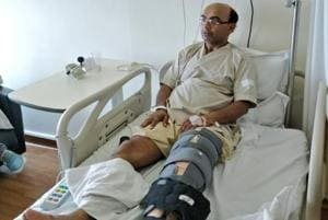 Dr Shashidhar Shree Niwas, a resident of Ansal Esencia society  in Gurugram, was beaten up by two unidentified men around 9pm inside his condominium.