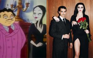 Sophie Turner and boyfriend Joe Jonas turned into Morticia and Gomez Addams for Halloween.