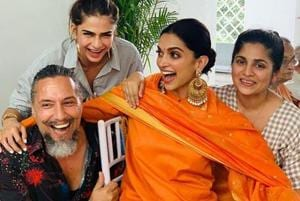 Deepika Padukone wore a Sabyasachi outfit for the puja.