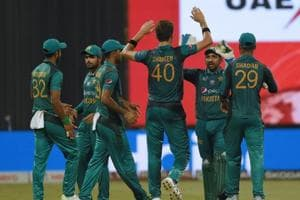 Pakistan cricketer Shaheen Shah Afridi (C) celebrates with teammates after he dismissed Bangladesh batsman Mushfiqur Rahim during the one day international (ODI) Asia Cup cricket match
