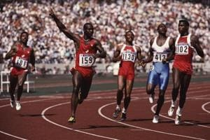 Canadian sprinter Ben Johnson (second from left) wins the final of the 100 Metres event at Seoul Olympic Stadium during the Olympic Games in Seoul, South Korea, 24th September 1988