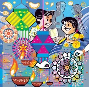 Diwali is traditionally a festival of lights and not of colours as painted in the later period