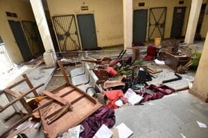 The office at Police Lines in Patna was damaged by newly-recruited constables who went on a rampage following the death of their colleague, a woman, who was reportedly denied medical leave and later died at a private hospital.