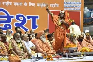 Seers converged at Talkatora Stadium in New Delhi on Saturday for 'Dharmadesh', a two-day 'national integration' meeting to push for the construction of a Ram temple in Ayodhya.