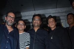 Actor Shah Rukh Khan with director Aanand L Rai, and singer Atul during his birthday celebration in Mumbai.