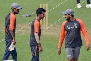 Kolkata: Indian cricket team captain Rohit Sharma with spinner Y Chahal at a training session ahead of the 1st T20 match against West Indies, at Eden Garden in Kolkata, Saturday, Nov 3, 2018