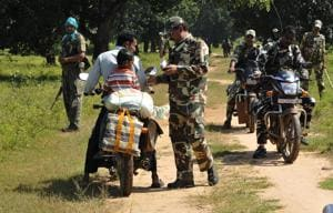 A CRPF unit on patrol in Chhattisgarh. In the upcoming Assembly elections, it's the Maoist ideological project that is the real challenge -- it seeks to portray Indian democracy as a farce.