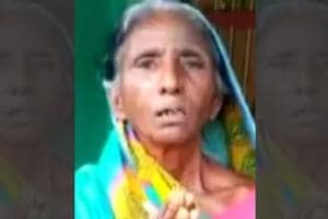 A video clip showing AmleshDevi (in picture) who is a native of Samadhpura village in Bihar's Darbangha district,  buried in earth upto her neck has been widely shared on social  media.