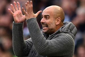 Manchester City manager Pep Guardiola gestures on the touchline during the Premier League match against Southampton.