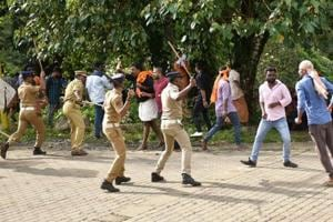 Sabarimala temple opening day LIVE updates: Police lathicharge protesters opposing the entry of girls and women of menstrual age into the hill shrine of Lord Ayyappa in Sabarimala.