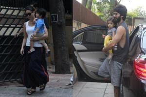 Kareena was spotted with son Taimur and Shahid was spotted with daughter Misha in Mumbai.