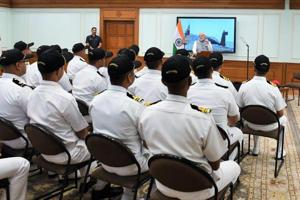 Prime Minister Narendra Modi interacts with the crew of Strategic Strike Nuclear Submarine INS Arihant.