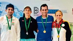 (From left) Nitten Kirrtane and Vlada Kirilovska, mixed doubles silver medallists pose with Marcus Hilpert of Netherlands and Stefanie Kolar of Germany who won the gold medals in Florida, US