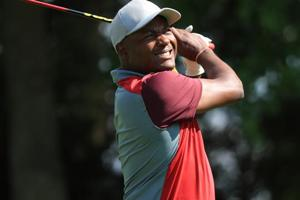Brian Lara tees off during the BMW PGA Championship Pro-Am at Wentworth in Virginia Water, England.