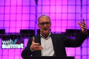 English scientist Tim Berners-Lee from the Web Foundation addresses the opening ceremony of the 2018 edition of the annual Web Summit technology conference in Lisbon on November 5, 2018.