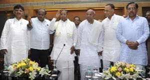 Former prime minsiter and JD(S) national president HD Devegowda (2nd from right) with former chief minister Siddaramaiah (centre) and Karnataka Chief Minister HD Kumaraswamy (2nd from left). Congress-JD(S) emerged as biggest winners in the Karnataka by-election.