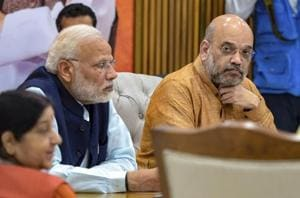 Prime Minister Narendra Modi, BJP president Amit Shah and external affairs minister Sushma Swaraj during the party