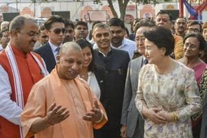 Uttar Pradesh chief minister Yogi Adityanath and South Korean first lady Kim Jung-sook on their arrival at the Queen Huh Park in Ayodhya.